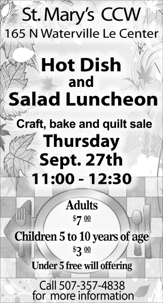 Hot Dish and Salad Luncheon, St. Mary's Church - Le Center, Le Center, MN