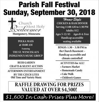 Parish Fall Festival September 30, Church of The Most Holy Redeemer, Montgomery, MN