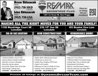 Making all the right moves for you and your family!, RE/MAX Advantage Plus: Bruce & Lisa Skluzacek, New Prague, MN