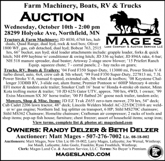 Farm Machinery, Boats, RV & Trucks