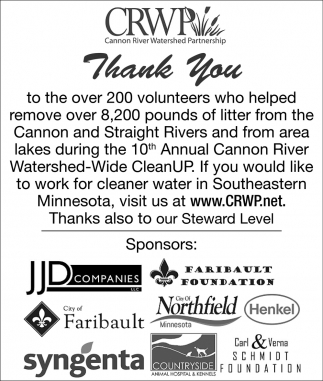 Thank You, 10th Annual Cannon River Watershed Wide CleanUP