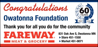 Congratulations Owatonna Foundation