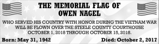 Memorial Flag of Owen Nagel
