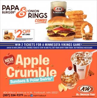 Papa Burger & Onion Rings Combo