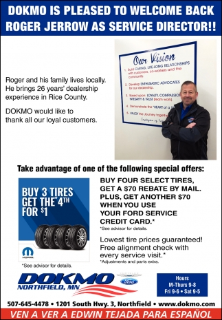 Buy 3 tires get the* 4th for 1$