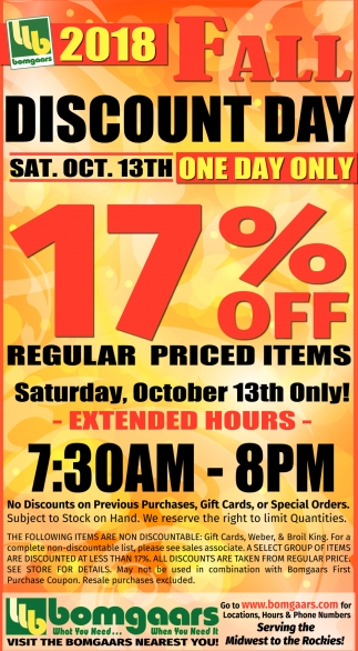 Fall Discount Day Oct. 13th
