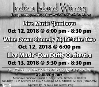 Wine Down Comedy Night Take Two, Oct 12 - Dan Duffy Orchestra, Oct 13