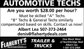 Automotive Techs, Flaherty's Hi-Tech Motorwerks, Albert Lea, MN