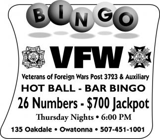 Bingo - 26 Numbers - $700 Jackpot