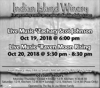 Zachary Scot Johnson, Oct 19 - Raven Moon Rising, Oct 20
