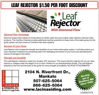 Leaf Rejector $1.50 per Foot Discount