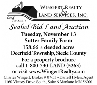 Sealed Bid Land Auction, November 13