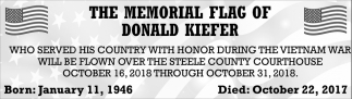 Memorial Flag of Donald Kiefer