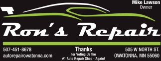 Thanks for Voting Us the #1 Auto Repair Shop, Ron's Repair