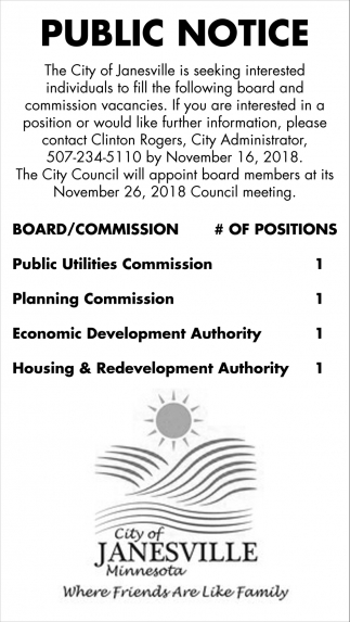 Interested individuals to fill  board and commission vacancies, City Of Janesville, Janesville, MN
