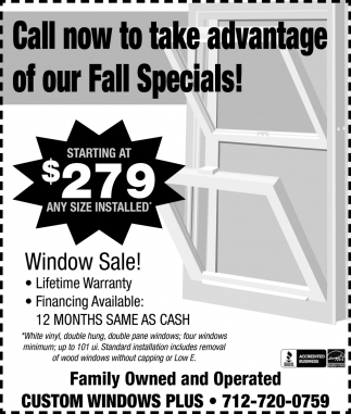 Starting at $279 any size installed