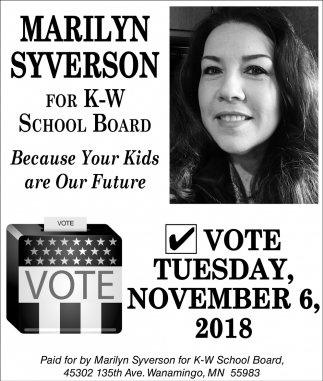 Elect for K-W School Board, Marilyn Syverson