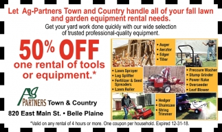 Let Ag Partners Town and Country handle all of your fall lawn and garden equipment rental needs