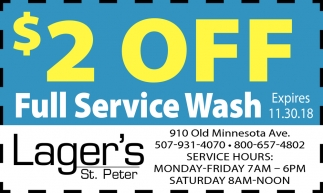 $ 2 Off Full Service Wash