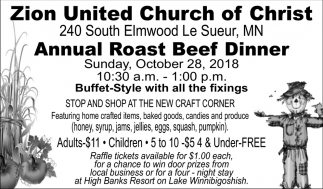 Annual Roast Beef Dinner - October 28, Zion United Church of Christ, Le Sueur, MN