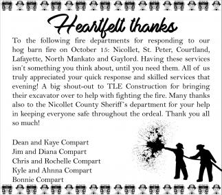Heartfelt Thanks - Compart Family