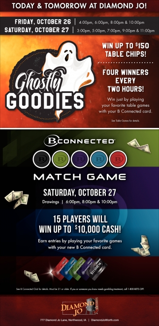 Ghostly Goodies - Win up to $150 Table Chips!, Diamond Jo, Northwood, IA