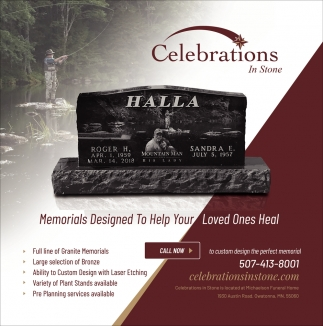 Memorials designed to help your loved ones heal, Celebrations In Stone, Owatonna, MN