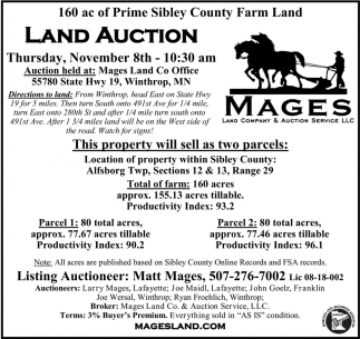 Land Auction, November 8th