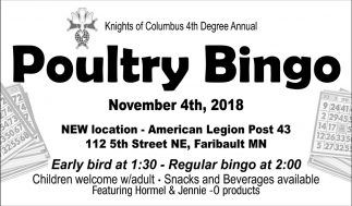 Poultry Bingo, November 4th
