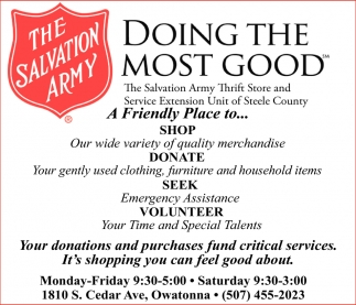 A Friendly Place to Shop, The Salvation Army Thrift Stores - Owatonna, Owatonna, MN