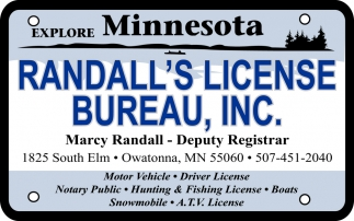 Motor Vehicle, Driver License, Notary Public, Hunting & Fishing License
