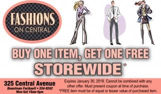 Buy one item, get one free storewide