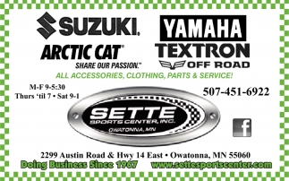 All Accesories, Clothing, Parts & Service, Sette Sport Center, Owatonna, MN