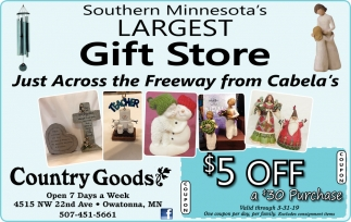 Southern Minnesota's Largest Gift Store, Country Goods , Owatonna, MN