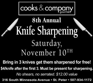 8th annual Knife sharpening - November 10th