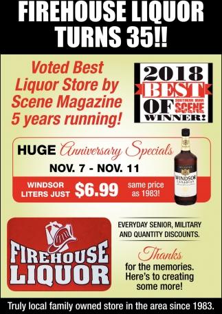 Firehouse Liquor Turns 35!