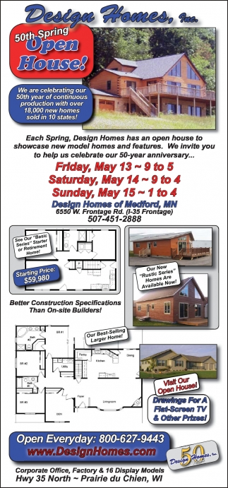 50th Spring Open House Design Homes Inc Medford Mn