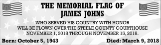 Memorial Flag of James Johns, Steele County Courthouse, Owatonna, MN