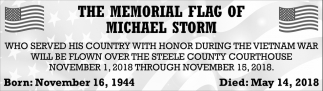 Memorial Flag of Michael Storm