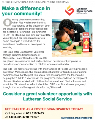 Make a difference in your community!, Lutheran Social Service of Minnesota, Saint Paul, MN