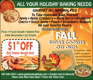 All your holiday baking needs, Gooters Dough To Go, Dundas, MN