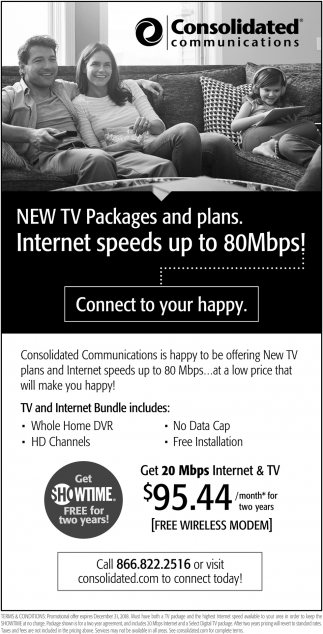 New TV Packages and plans, Consolidated Communications, MN