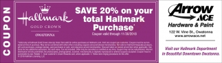 Save 20% on your total Hallmark Purchase