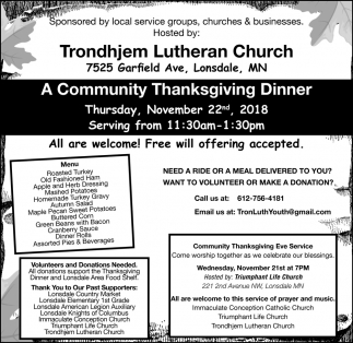 A Community Thanksgiving Dinner, Trondhjem Lutheran Church, Lonsdale, MN