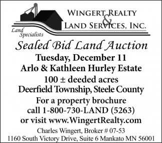 Sealed Bid Land Auction, December 11