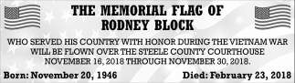 Memorial Flag of Rodney Block