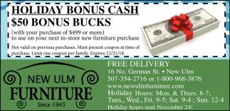 Holiday Bonus Cash - $50 Bonus Bucks
