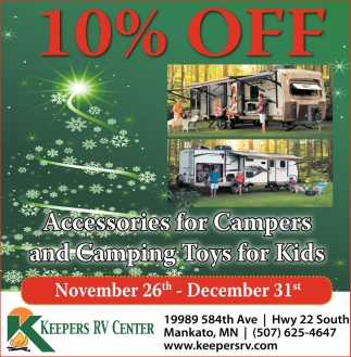 10% off Accesories for Campers and Camping Toys for Kids