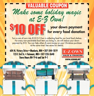 $10 off your down payment for every food donation, E-Z Own Sales & Financing - Mankato, Fairmont, Fairmont, MN