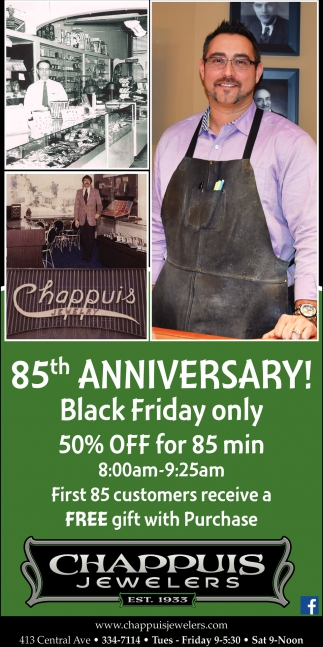 Black Friday  only 50% Off for 85 min, Chappuis Jewelry, Faribault, MN